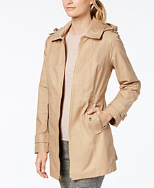 MICHAEL Michael Kors Petite Hooded Zip-Front Raincoat