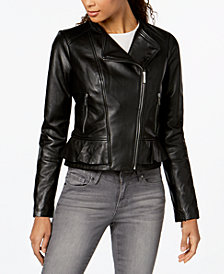 MICHAEL Michael Kors Leather Ruffle-Waist Moto Jacket