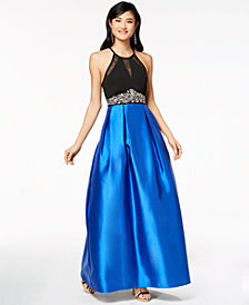 Teeze Me Juniors' Embellished Illusion Fit & Flare Gown, Created for Macy's