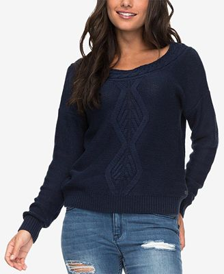 Roxy Juniors Cable Knit Boat Neck Sweater Sweaters Juniors Macys