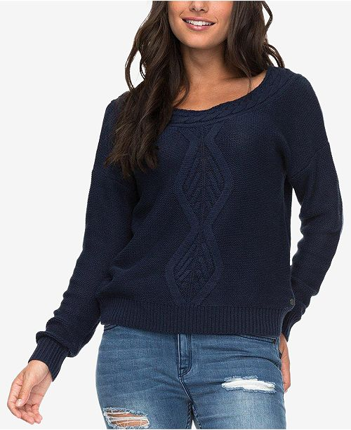 Roxy Juniors Cable Knit Boat Neck Sweater Sweaters Juniors Macys