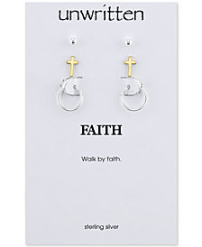 Unwritten Two-Tone 3-Piece Set Stud and Hoop Earrings in Sterling Silver & Gold-Flashed Sterling Silver