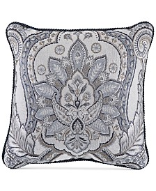 "Croscill Seren Chenille Damask Jacquard 18"" Square Decorative Pillow"