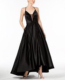 Betsy & Adam Deep-V Strappy Satin Gown