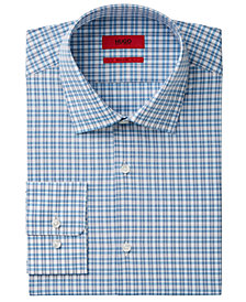 HUGO Men's Fitted Blue Check Dress Shirt