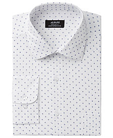 Alfani Men's Classic/Regular Fit Performance Stretch Easy-Care Small Circle Print Dress Shirt, Created for Macy's