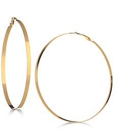 "3-3/4"" Flat-Edge Hoop Earrings"