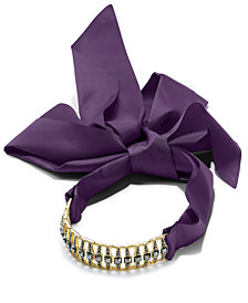 I.N.C. Pavé Bar & Satin Ribbon Choker Necklace, Created for Macy's