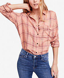 Free People No Limits Linen Plaid Button-Down Top