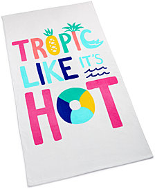 Martha Stewart Collection Tropic Like It's Hot Cotton Graphic-Print Beach Towel, Created for Macy's