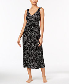 Alfani Floral-Print Pleated Nightgown, Created for Macy's