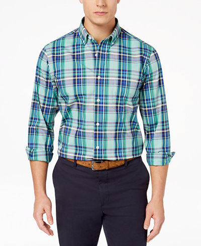 Club Room Men's Plaid Stretch Shirt, Created for Macy's