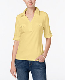 Karen Scott Cotton Roll-Tab-Sleeve Shirt, Created for Macy's