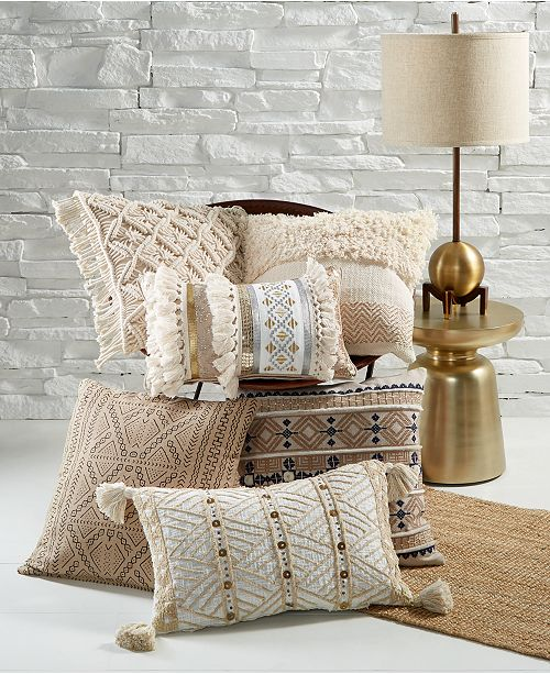 With The Soothing Tones Stylish Textures And Attention Grabbing Geometric Prints Of This Global Natural Decorative Pillow Collection From Lacourte