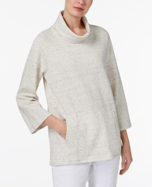 Eileen Fisher  ORGANIC COTTON 3/4-SLEEVE FUNNEL-NECK TOP