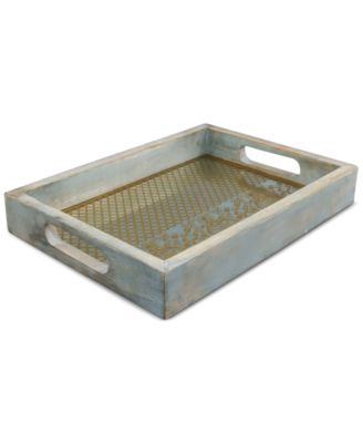 CLOSEOUT! Thirstysone Gray-Washed Tray with Mirrored Base