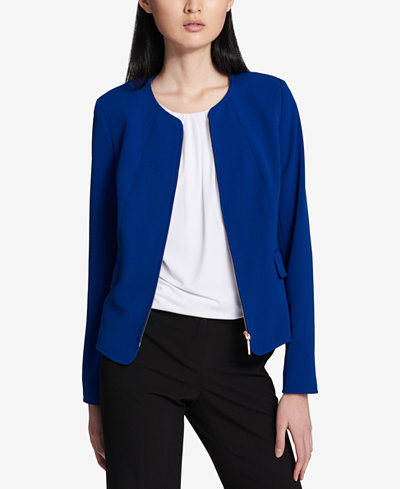 Calvin Klein Collarless Crepe Zip-Front Blazer, Regular & Petite