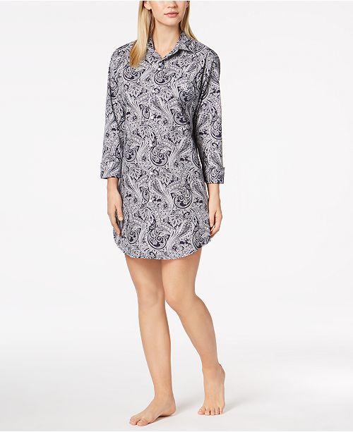 Lauren Ralph Lauren Roll Cuff Sleepshirt Nightgown