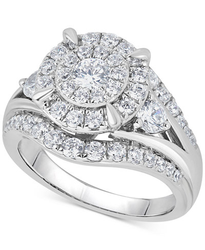 Diamond Halo Cluster Ring (1-1/2 ct. t.w.) in 14k White Gold