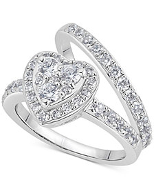 Diamond Heart Halo Bridal Set (1-1/4 ct. t.w.) in 14k White Gold