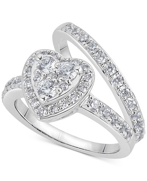 Macy's Diamond Heart Halo Bridal Set (1-1/4 ct. t.w.) in 14k White Gold