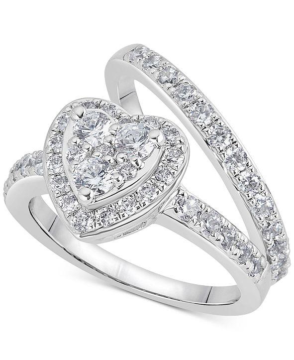 Macy's Diamond Heart Halo Bridal Set (1-1/4 ct. t.w.) in 14k White Gold