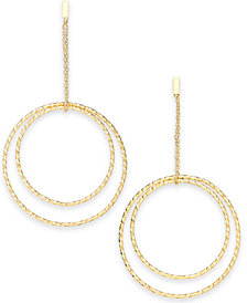 I.N.C. Gold-Tone Textured Double Hoop Drop Earrings, Created for Macy's