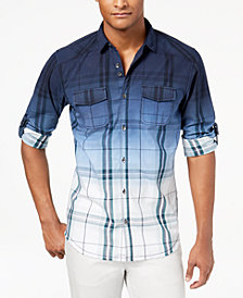I.N.C. Men's Dip-Dyed Plaid Shirt, Created for Macy's