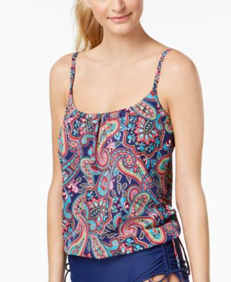 Paisley Fields Printed Underwire Side-Tie Tankini Top