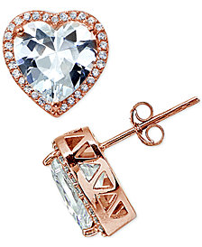 Giani Bernini Cubic Zirconia Halo Heart Stud Earrings in Sterling Silver, Created for Macy's