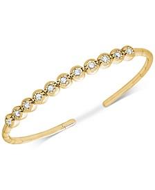 Diamond Bezel Bangle Bracelet (1/2 ct. t.w.) set in 14k Rose or Yellow Gold over Sterling Silver