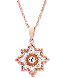 Wrapped in Love™ Diamond Openwork Star Pendant Necklace (1/3 ct. t.w.) in 14k Rose Gold, Created for Macy's