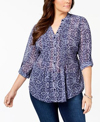 Style & Co Plus Size Pintucked Tunic, Created for Macy's
