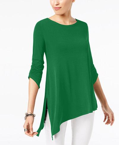 Alfani Asymmetrical-Hem Ruched Top, Created for Macy's