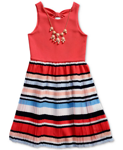 Bloome Pleated Bow-Back Dress, Big Girls