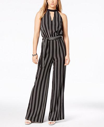 Bar III Striped Choker Jumpsuit, Created for Macy's