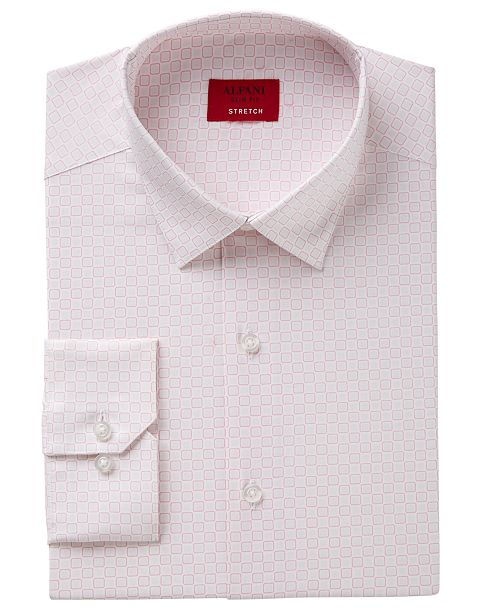 Men's Slim-Fit Stretch Multi-Square Print Dress Shirt, Created for Macy's