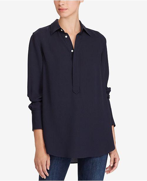 c20f164ea547d Polo Ralph Lauren Silk Georgette Blouse   Reviews - Tops - Women ...
