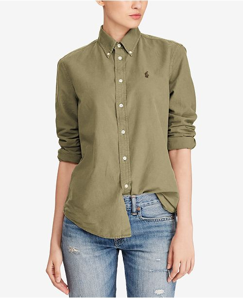 Polo Ralph Lauren Cotton Oxford Shirt - Tops - Women - Macy s 2eb7b24c1