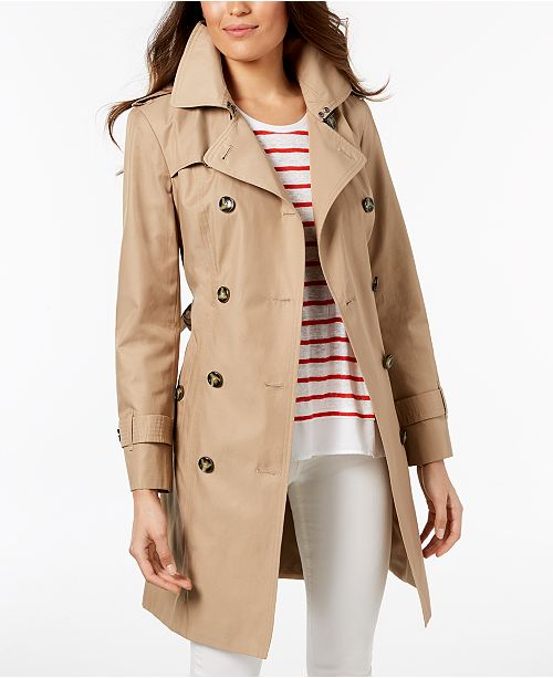 96b070bf London Fog Hooded Double-Breasted Trench Coat & Reviews - Coats ...