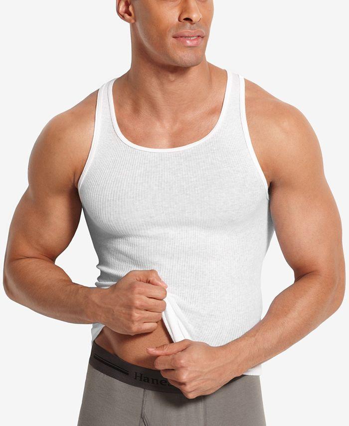Hanes - Men's Big & Tall 4-Pk. A-Line Cotton Tank Undershirts