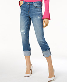 I.N.C. Ripped Cuffed Skinny Jeans, Created for Macy's