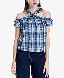 Max Studio London Plaid Ruffle-Trim Halter Top, Created for Macy's