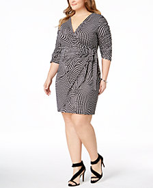 I.N.C. Plus Size Faux-Wrap Dress, Created for Macy's