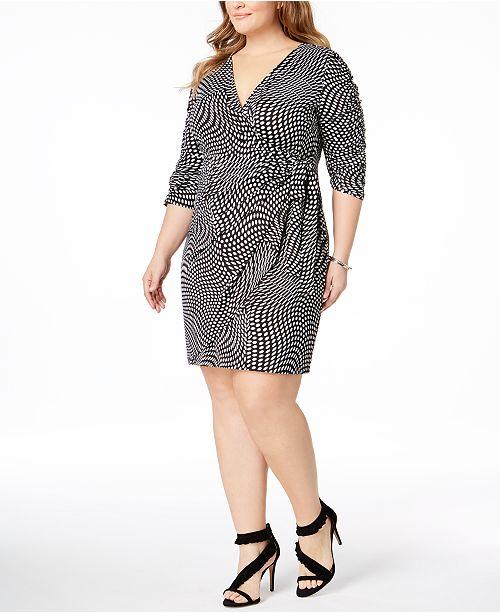 INC International Concepts I.N.C. Plus Size Faux-Wrap Dress ...