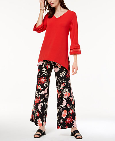 Alfani Bell-Sleeve Top & Printed Palazzo Pants, Created for Macy's
