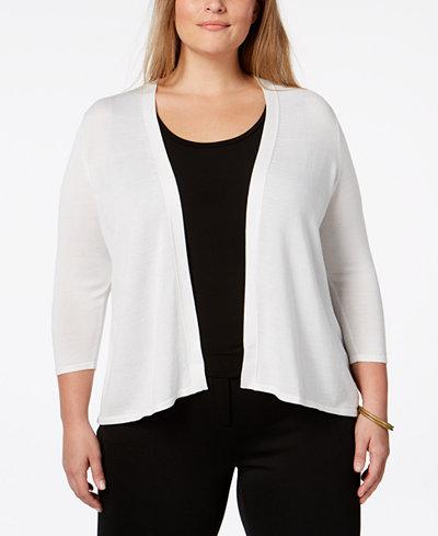 Alfani Plus Size Open-Knit Cardigan, Created for Macy's