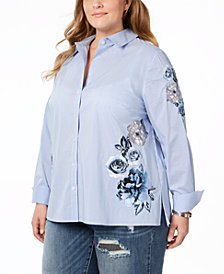 I.N.C. Plus Size Striped Embroidered Shirt, Created for Macy's