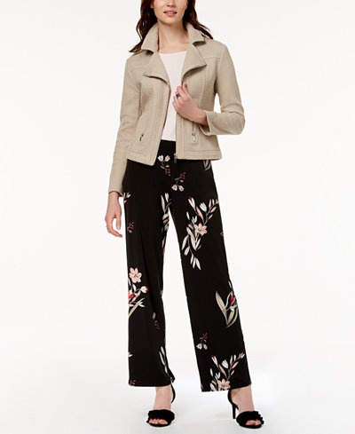 Alfani Moto Jacket, Mixed-Media Top & Wide-Leg Pants, Created for Macy's