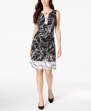 Jm Collection Abstract-Print Keyhole Dress, Created for Macy's